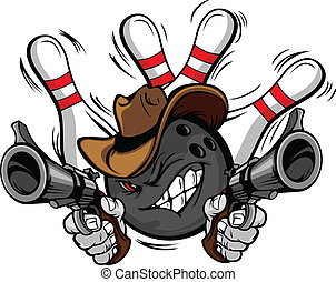 Bowling Ball Cartoon Face with Cowboy Hat Holding and Aiming Guns with bowling Pins Behind Him