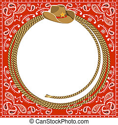 cowboy card background with rope frame and western hat. Vector illustration for design