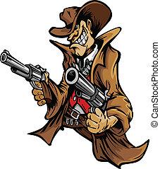 Cartoon Mascot Image of a Cowboy Shooting Pistols