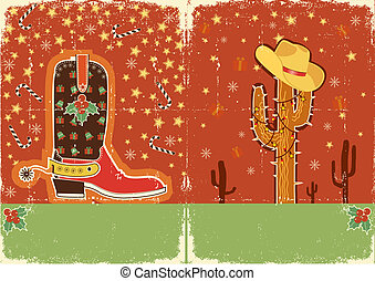 Cowboy christmas card for text. Grunge poster