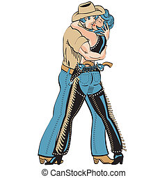 Cowboy cowgirl sign vector clip art