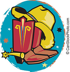 Clip art of a cowboy hat and boots