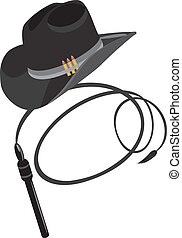 Cowboy hat and whip