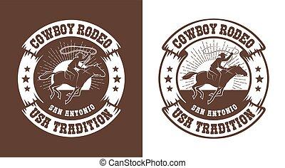 Cowboy horseman with lasso - western rodeo vintage emblem