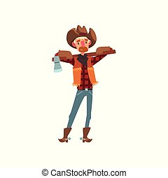Cowboy in traditional clothes standing with axe, western cartoon character vector Illustration on a white background