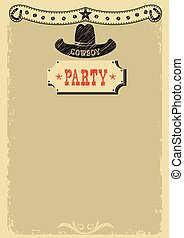Cowboy party background with western decoration