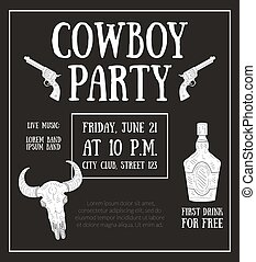 Cowboy Party Banner Template, Design Element Can Be Used for Poster, Card, Invitation, Flyer Vector Illustration