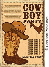 Cowboy party. Poster template with cowboy boot on grunge background. Vector illustration