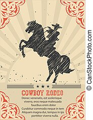 Cowboy riding wild horse .Vector western poster background