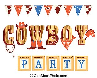 Cowboy text with Western decoration and Wild West elements isolated