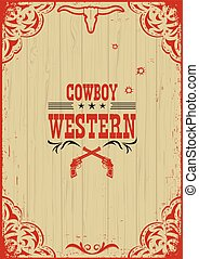 Cowboy western poster background with guns