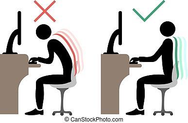 correct office back sitting