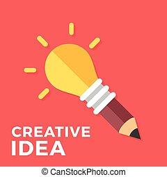 Creative idea. Glowing light bulb connected to pencil. Creativity, great solution, new idea concepts. Vector lightbulb. Modern flat design vector illustration