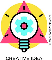 Creative idea icon. Glowing light bulb with gear inside and geometric shapes, round circle and triangle. Modern flat design thin line concept. Vector icon