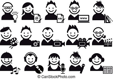 creative people and artist icons, vector set