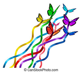 Creative release concept as a group of butterflies as colors of the rainbow with silk ribbons attached creating a new marketing promotion and spreading the message globally as a symbol of communication diversity.