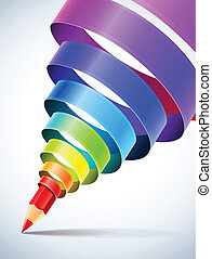 creative template with pencil and coloured spiral ribbon art concept vector illustration