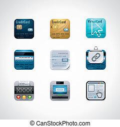 Credit card square icon set