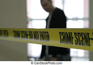 Crime scene police line tape detective agent cop