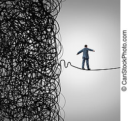 Crisis Management business concept as a tightrope walker walking out of a confused tangled chaos of wires breaking free to a clear path of risk opportunity as a metaphor for managing organizational challenges for financial freedom and success.