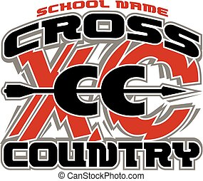 cross country team design with arrow going through