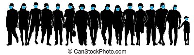 Crowd of people in medical masks. Silhouette vector illustration