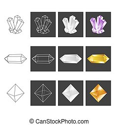 Crystal Geometry Shape Set. Colored Crystals In Polygon Geometric Style. Vector