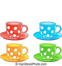 Illustration of four different color Cups and saucers
