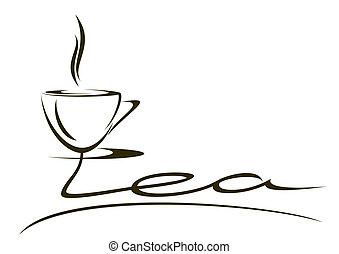 "The stylized inscription ""tea"" on a white background."