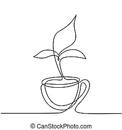 Cup of tea with smell shaped leaf.
