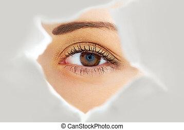 Image of human eye looking through hole in white paper sheet