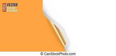 Curled Corner with Orange Background