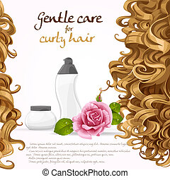 Curled hair care background