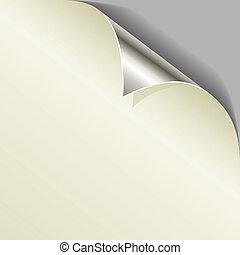 Curled metallic page corner