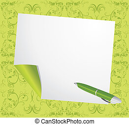 Curled page and ballpen on the decorative green background. Vector illustration