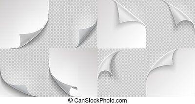 Curled page corners. Flipped and turning paper page set on transparent background. Vector folded or turn-up book page