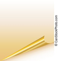 curled page corners vector template, Gold rolled corner with shadow