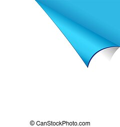 Curled White Paper Corner with Blue Background