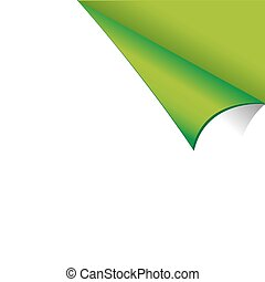 Curled White Paper Corner with Green Background