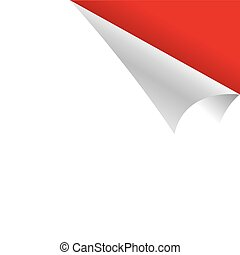 Curled White Paper Corner with Red Background
