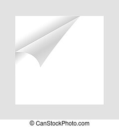 Curled White Paper Corner with white Background