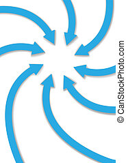 Circle group of eight arrows curve and spiral inward to point at copy space in the center