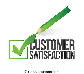 customer satisfaction checkmark and pencil illustration design over a white background