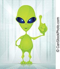 Cartoon Character Funny Alien on Digital Creative Background. Idea. Vector EPS 10.