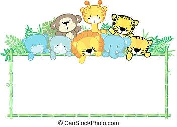 cute baby animals jungle frame