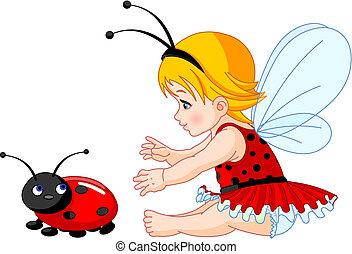 Cute baby fairy and ladybug