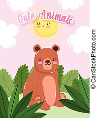 cute bear sitting on grass forest nature wild cartoon
