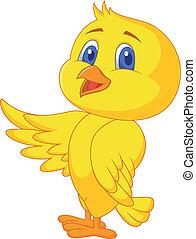 Cute bird waving