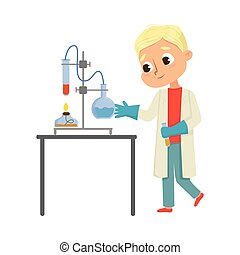 Cute Boy in Laboratory Coat Conducting Chemical Experiments in Glass Flask Vector Illustration