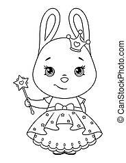 Cute bunny princess with a magic wand coloring page